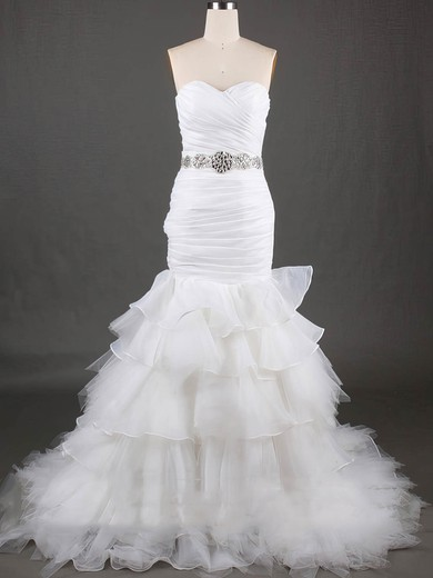 Organza Tulle Sweetheart Trumpet/Mermaid Unique Lace Up Wedding Dresses #PWD00020610
