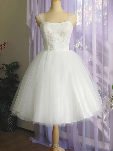 Pretty Square Neckline White Satin Tulle Appliques Lace Knee-length Wedding Dress #PWD00020612