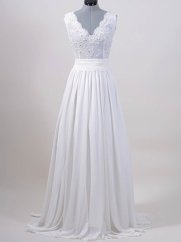 Online White Lace Chiffon V-neck Sashes / Ribbons Sweep Train Wedding Dresses #PWD00020615