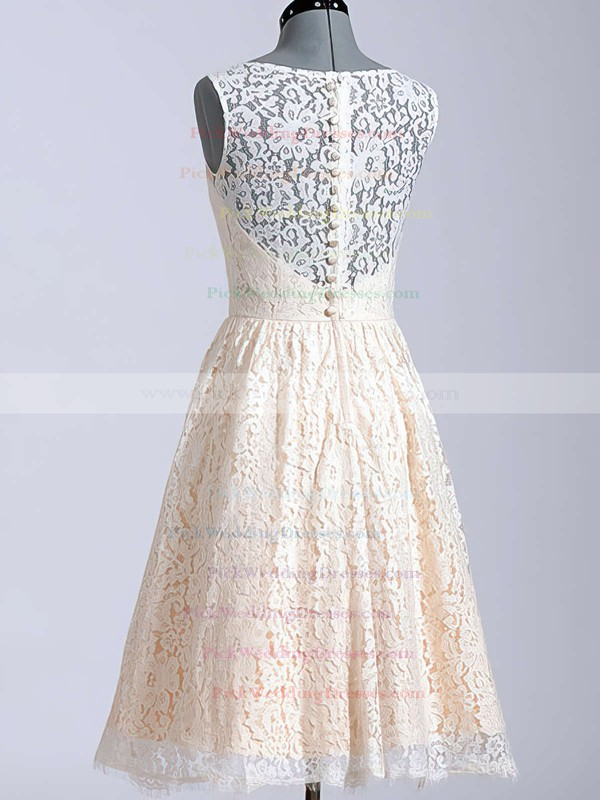 Cute Champagne Lace Knee-length Covered Button Scoop Neck Wedding Dresses #PWD00020616