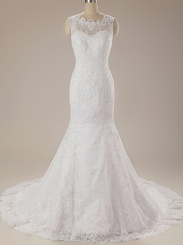 Fashion White Lace Scalloped Neck Court Train Draped Trumpet/Mermaid Wedding Dress #PWD00020625