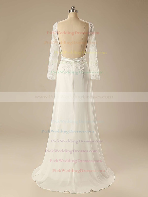 Sweep Train Ivory Chiffon Appliques Lace Long Sleeve Scoop Neck Wedding Dress #PWD00020626