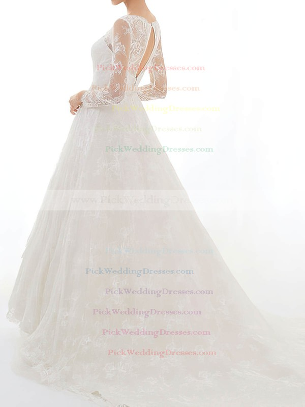 Long Sleeve Court Train Sweetheart Discounted Lace Beading Wedding Dress #PWD00020629