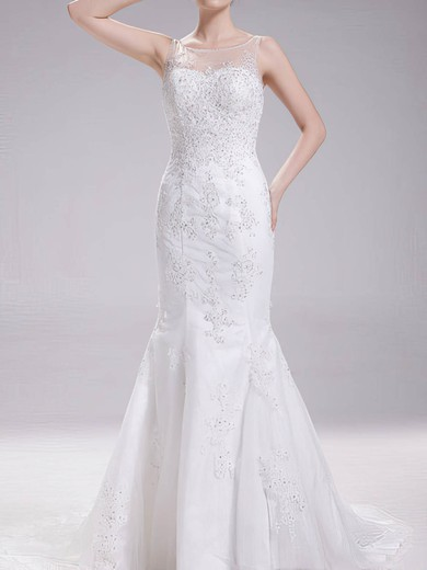Fashion Scoop Neck Trumpet/Mermaid Tulle Beading Appliques Lace Wedding Dress #PWD00020630