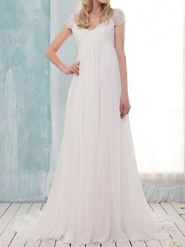 Pretty Empire Off-the-shoulder White Chiffon Criss Cross Sweep Train Wedding Dress #PWD00020631
