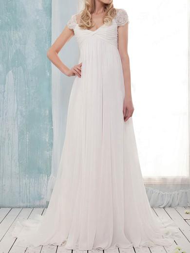 Pretty Empire Off-the-shoulder White Chiffon Criss Cross Sweep Train Wedding Dress #PWD00020631