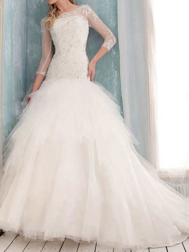 Classy Trumpet/Mermaid White Tulle Scoop Neck Appliques 3/4 Sleeve Wedding Dress #PWD00020632