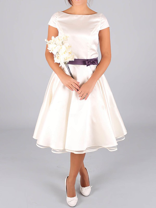 Scoop Neck Vintage Satin with Sashes / Ribbons Tea-length Wedding Dresses #PWD00020633