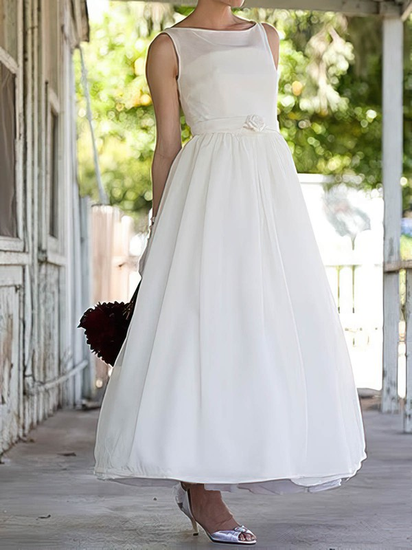 Vintage Ankle-length Flower(s) Square Neckline White Satin Wedding Dresses