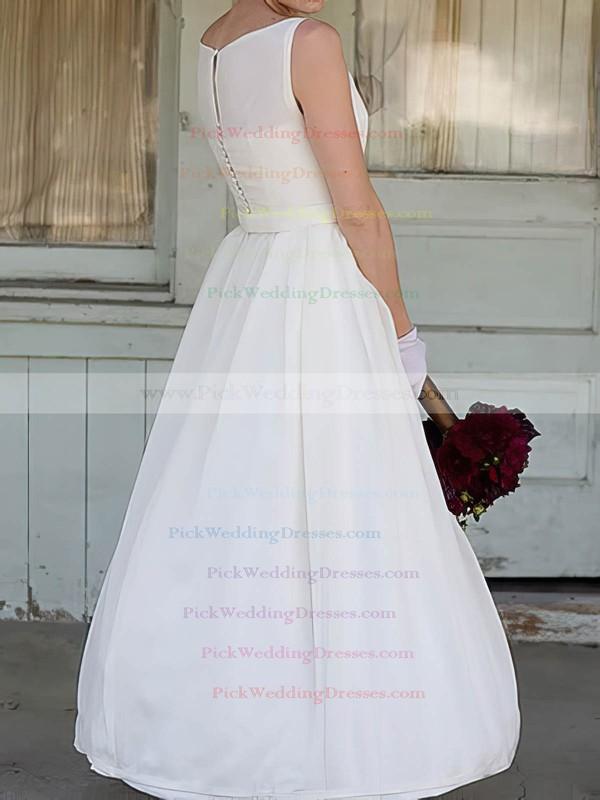 Vintage Ankle-length Flower(s) Square Neckline White Satin Wedding Dresses #PWD00020636
