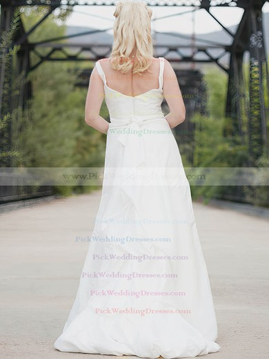 Square Neckline White Taffeta Sashes / Ribbons Straps Floor-length Wedding Dress #PWD00020638