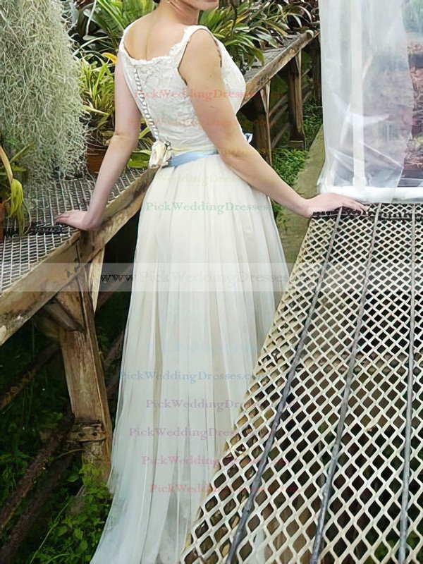 Ivory Tulle Lace Scoop Neck Sashes / Ribbons Sheath/Column Wedding Dresses #PWD00020639