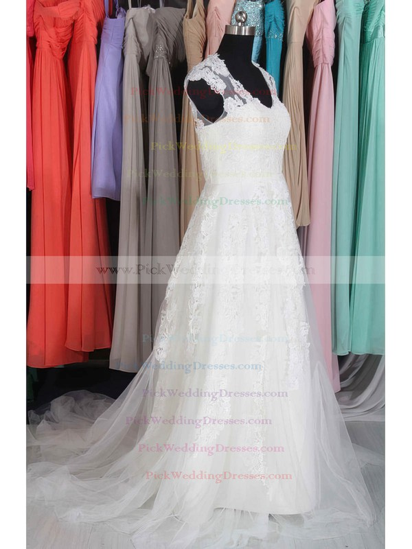 Amazing White Tulle with Appliques Lace Cap Straps V-neck Wedding Dresses #PWD00020662