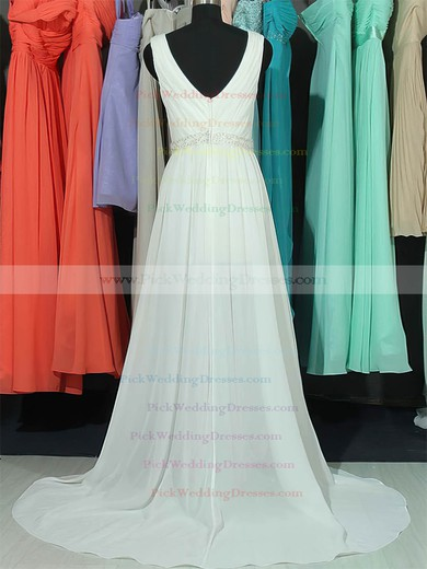 Summer White Lace Chiffon V-neck Beading Sweep Train Wedding Dresses #PWD00020663
