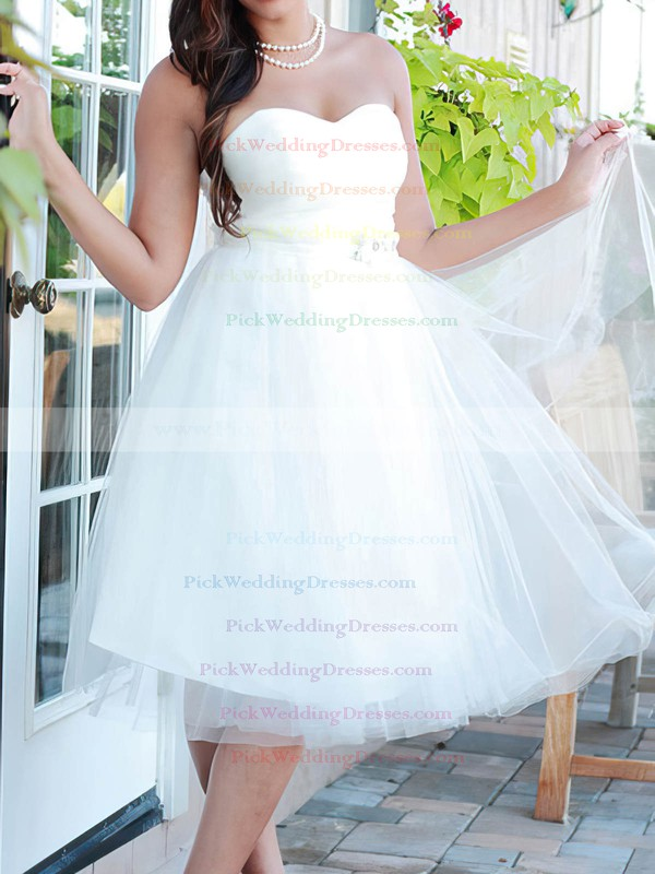 Nice Knee-length White Tulle Beading Lace-up Sweetheart Wedding Dresses #PWD00020664