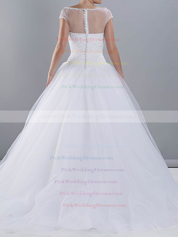 White Ball Gown Scoop Neck Boutique Tulle Beading Wedding Dresses #PWD00020670