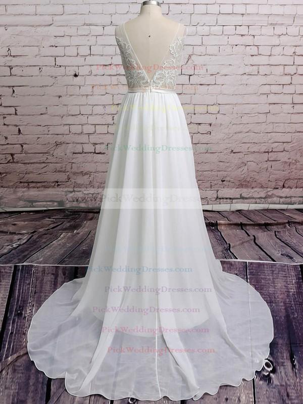 Latest White Chiffon Appliques Lace V-neck Court Train Wedding Dresses #PWD00020671