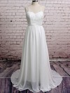 Latest White Chiffon Appliques Lace V-neck Court Train Wedding Dresses #PWD00020671