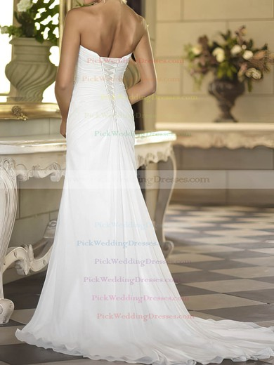 Cheap Sweetheart White Chiffon Sheath/Column Split Front Wedding Dress #PWD00020674