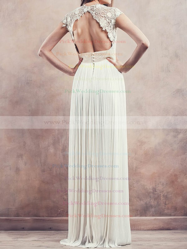 V-neck Chiffon with Lace Cap Straps Pleats Ivory Sheath/Column Wedding Dresses #PWD00020675