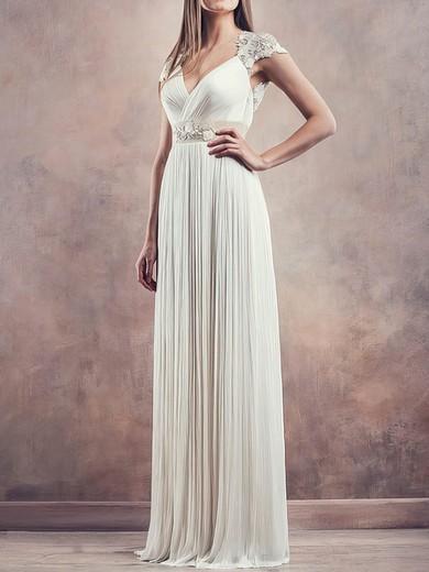 V-neck Chiffon with Lace Cap Straps Pleats Ivory Sheath/Column Wedding Dresses #PWD00020675