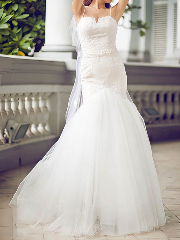 Stunning White Tulle Appliques Lace Sweetheart Trumpet/Mermaid Wedding Dresses #PWD00020680
