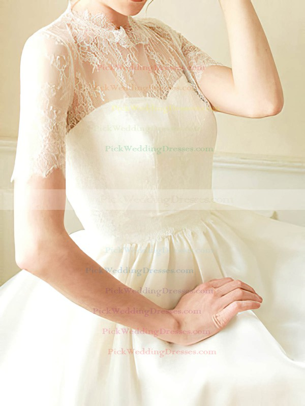 Cute White Satin Lace High Neck Short/Mini Short Sleeve Wedding Dress #PWD00020682