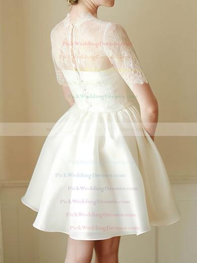Cute White Satin Lace High Neck Short/Mini Short Sleeve Wedding Dress #PWD00020682