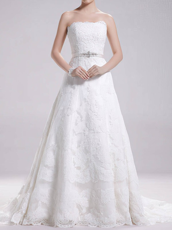 Strapless Sweep Train Gorgeous Lace with Sashes / Ribbons Wedding Dress #PWD00020695