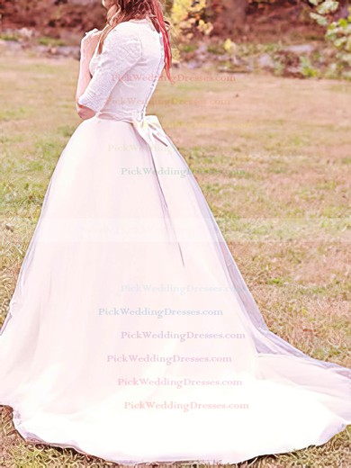 Ball Gown Scoop White Tulle Appliques Lace and Bow 1/2 Sleeve Wedding Dress #PWD00020707