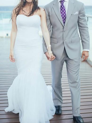Simple White Organza Sweetheart Ruffles Trumpet/Mermaid Wedding Dresses #PWD00020708