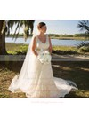 Vintage V-neck with Sashes/Ribbons Ivory Lace Open Back Wedding Dress #PWD00020713