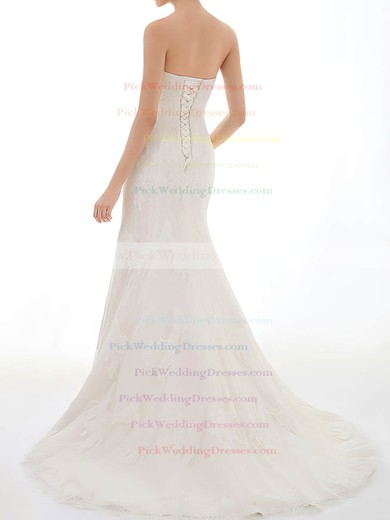 Expensive Trumpet/Mermaid Ivory Sweetheart Lace Beading Wedding Dress #PWD00020717