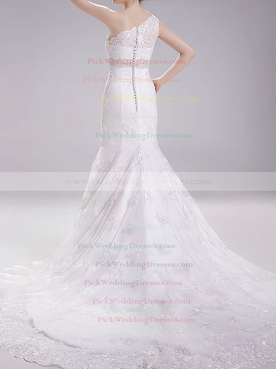 Beautiful One Shoulder Trumpet/Mermaid Lace Covered Button Wedding Dresses #PWD00020718