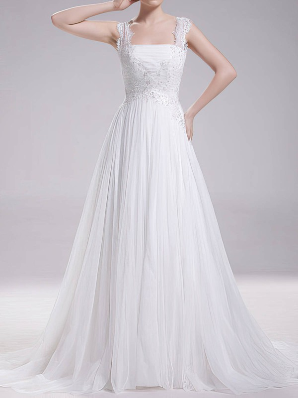 Square Neckline Wholesale Chiffon Lace Sweep Train Wedding Dresses #PWD00020719