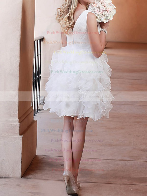 Different Short/Mini Ball Gown V-neck Organza Tiered Wedding Dresses #PWD00020720
