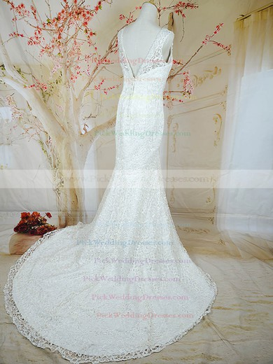 Trumpet/Mermaid V-neck White Beading Covered Button Lace Wedding Dresses #PWD00020721