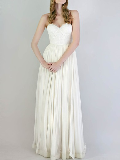 Empire Ivory Chiffon Lace Ruffles Sleeveless Wedding Dresses #PWD00020741