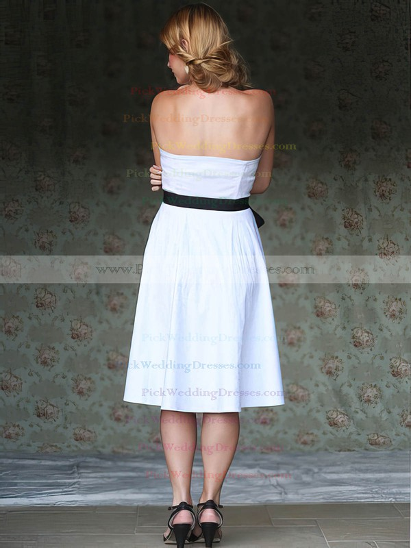 Strapless White Taffeta Sashes / Ribbons Zipper Up at Side Tea-length Wedding Dress #PWD00020748