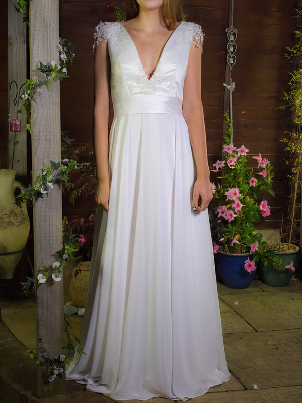 White Chiffon Satin Appliques Lace V-neck Cap Straps A-line Wedding Dress #PWD00020755
