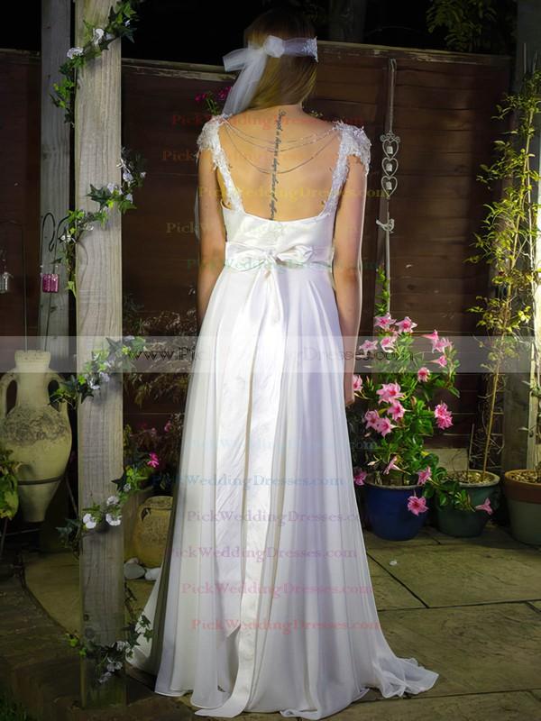 White Chiffon Satin Appliques Lace V-neck Cap Straps A-line Wedding Dress #PWD00020755