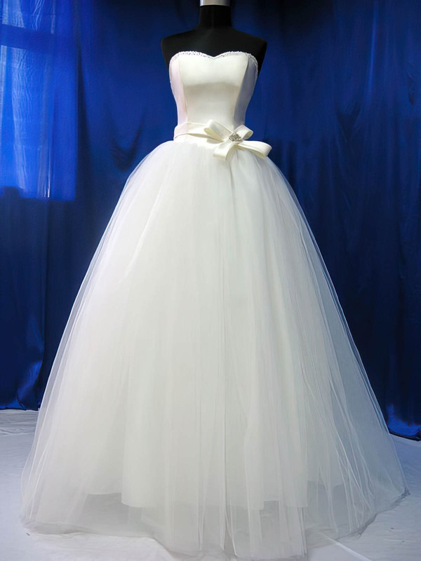 6e179b267fa Pretty Ball Gown Ivory Satin Tulle Sashes   Ribbons Sweetheart Wedding  Dresses  PWD00020783
