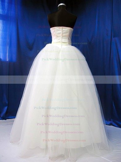 Pretty Ball Gown Ivory Satin Tulle Sashes / Ribbons Sweetheart Wedding Dresses #PWD00020783