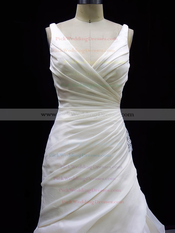 Trumpet/Mermaid Ivory Organza Pleats Button V-neck Wedding Dresses #PWD00020784