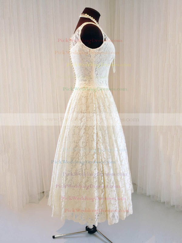 Scoop Neck Tea-length Buttons Classic Ivory Lace Wedding Dresses #PWD00020790