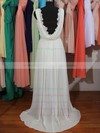Nicest Sheath/Colum Lace Chiffon with Beading V-neck Wedding Dresses #PWD00020803