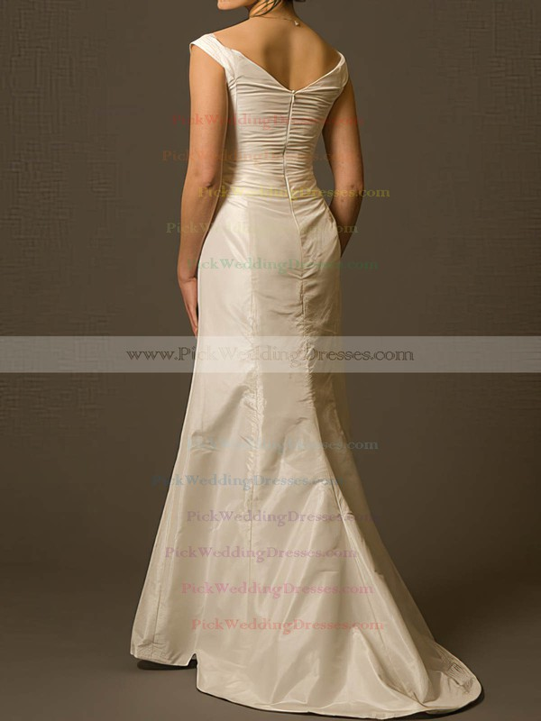 Modest Ivory Taffeta Ruffles Sweep Train Off-the-shoulder Wedding Dress #PWD00020808