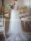 Scoop Neck White Gorgeous Lace Tulle with Bow Wedding Dress #PWD00020809
