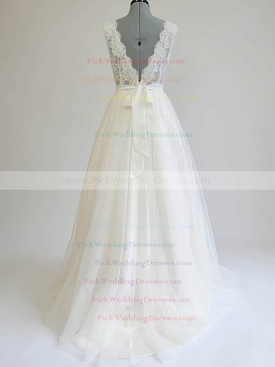 Ivory Tulle Scalloped Neck Sashes / Ribbons Sweep Train New Wedding Dresses #PWD00020812