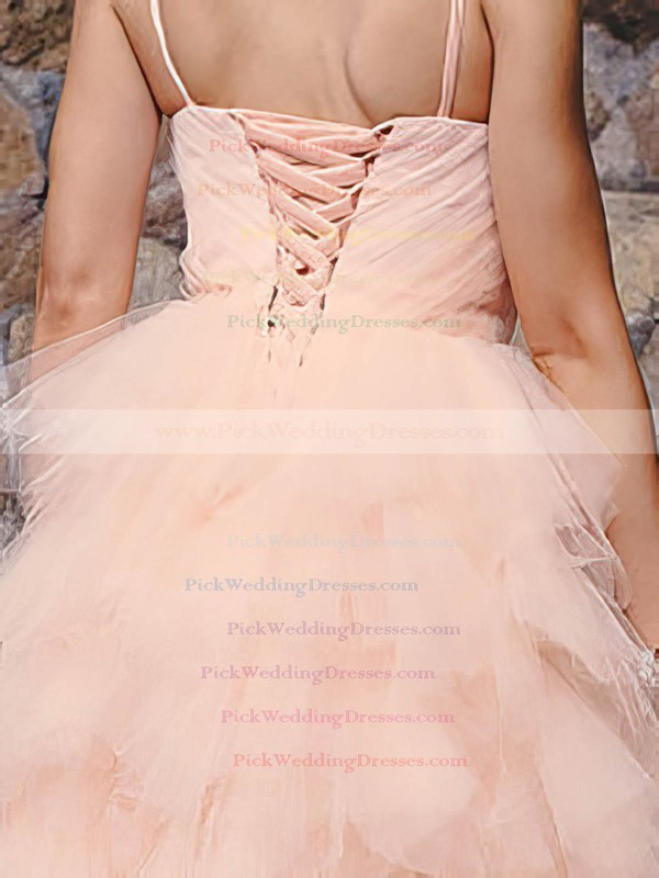 Ball Gown Knee-length and Tiered Tulle Pink Sweet Wedding Dresses #PWD00020813